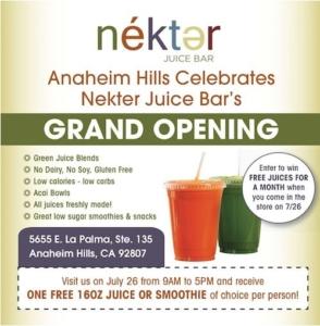FREE juice or smoothie at the Nekter Juice Bar coupon