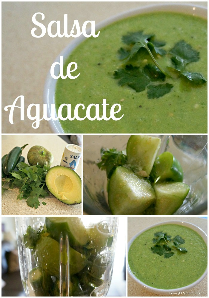 How to make Avocado Salsa at home with just a few ingredients: jalapeños, tomatillo, cilantro, salt, lemon, water and avocado. Great for tacos, burritos and for breakfast. | livingmividaloca.com | #livingmividaloca #avocadosalsa #recipes #salsadeaguacate #guacamolesalsa #avocado #diprecipes