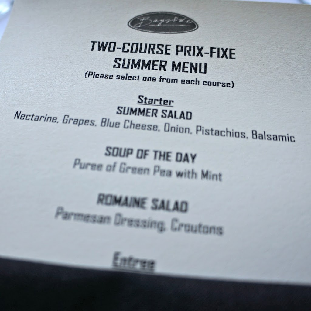 Bayside Restaurant two-course Prix Fixe Summer Menu
