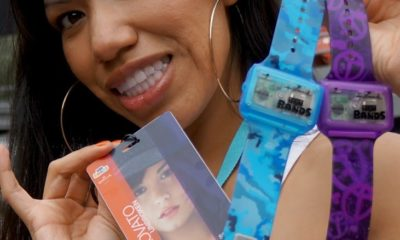 Demi Lovato badge and text bands