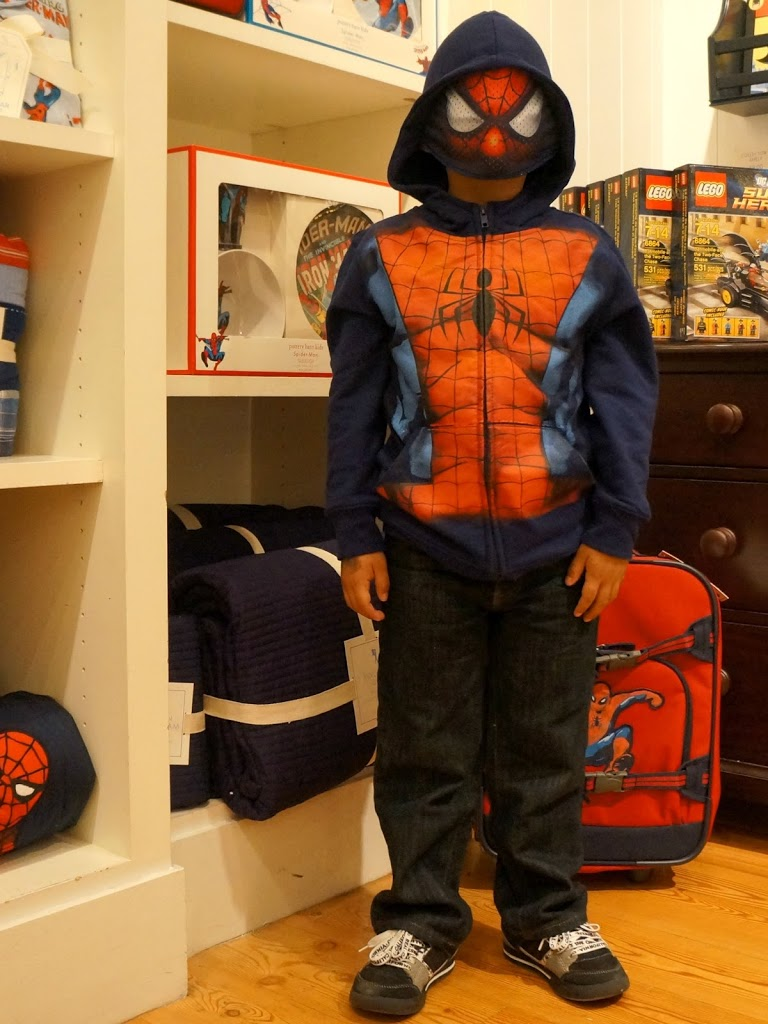 Boy with Spiderman hoodie
