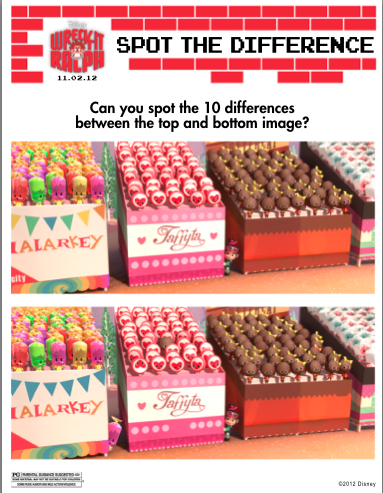 Wreck it ralph spot the difference activity sheet
