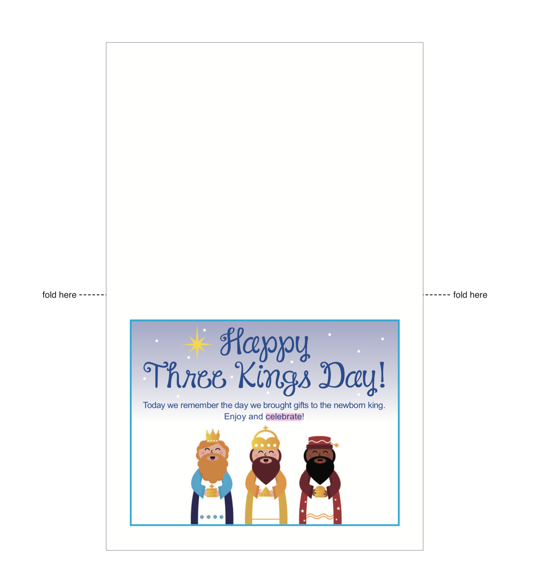 Prepare for Three Kings Day by using this three kings day printable on January 6th when the three kings stop by. Print the card and leave with a small gift. | LivingMiVidaLoca.com | #LivingMiVidaLoca #ThreeKingsDay #DiadelosReyesMagos #ThreeKings
