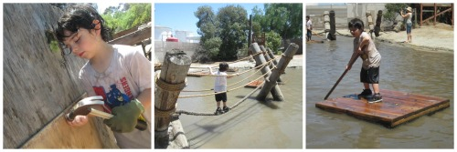 Boys building at Adventure Playground at Huntington Beach