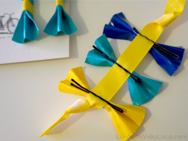 bobby pins on duct tape bows
