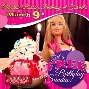 Free Barbie birthday sundae at Farrell's Ice Cream Parlour | LivingMiVIdaLoca.com