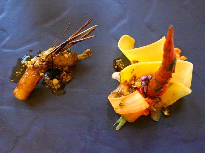 Carrot Hummus, Braised Carrots, Pistachio