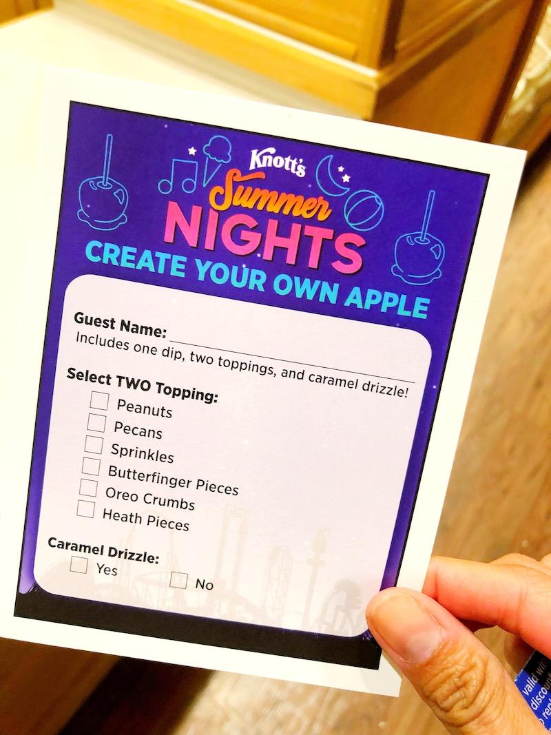 Knott's Summer nights tasting card includes a fudge dipped apple that you can customize - livingmividaloca.com - #LivingMiVidaLoca #KnottsBerryFarm