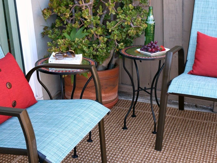 Mosaic end tables in patio