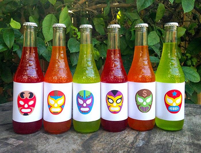 Free Jarritos bottle wrappers for lucha libre party // LivingMiVidaLoca.com #printable