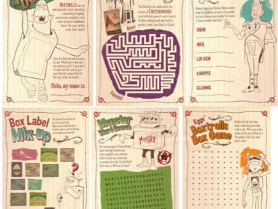 The Boxtrolls activity sheets
