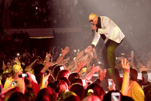 Pitbull greeting fans