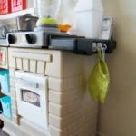 Hooks for utensils & oven mitt