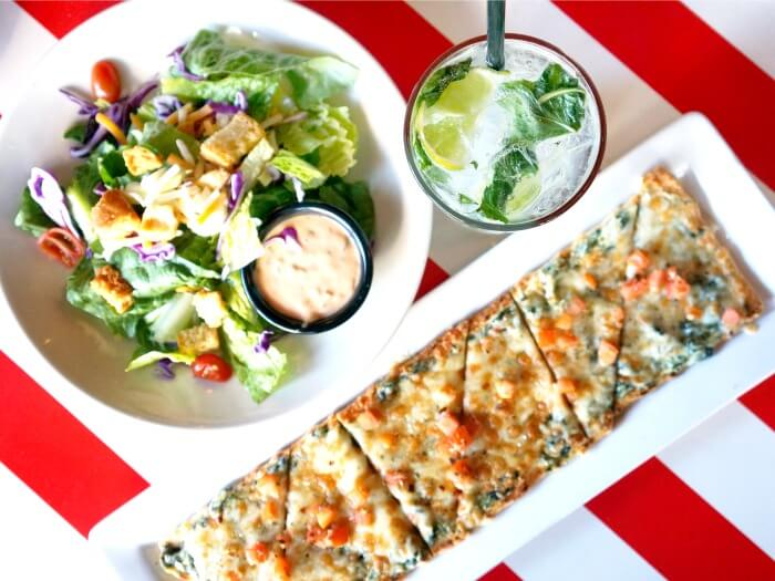 Flatbread, House Salad and House Mojito at TGI Fridays