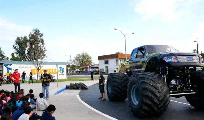 monster trucks at maxwell elementary