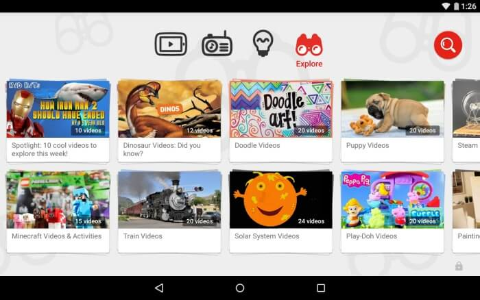 Explore feature on YouTube Kids app