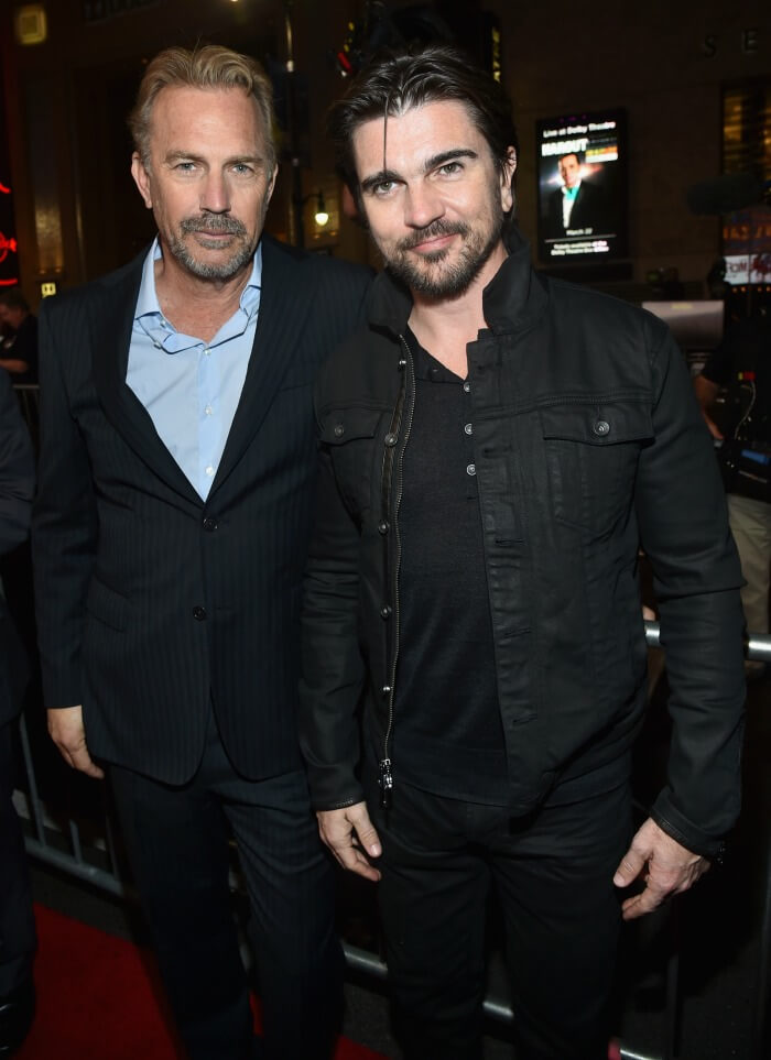 Kevin Costner and Juanes at McFarland USA premiere