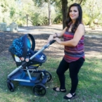 Mom using GB Evoq stroller