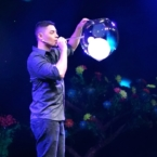 Deni Yang makes smoking bubbles during bubble show