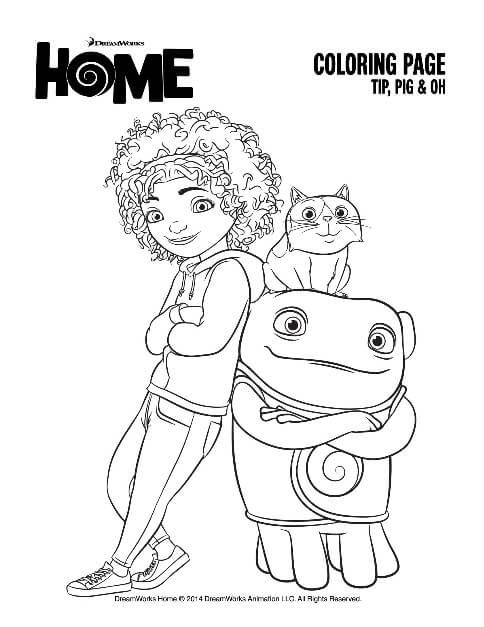 HOME Coloring Page - Tip, Pig and Oh