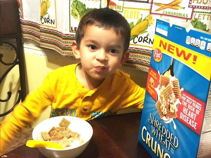 Kids eat Post Shredded Wheat Crunch!