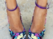 Multi colored wedges with purple ankle strap