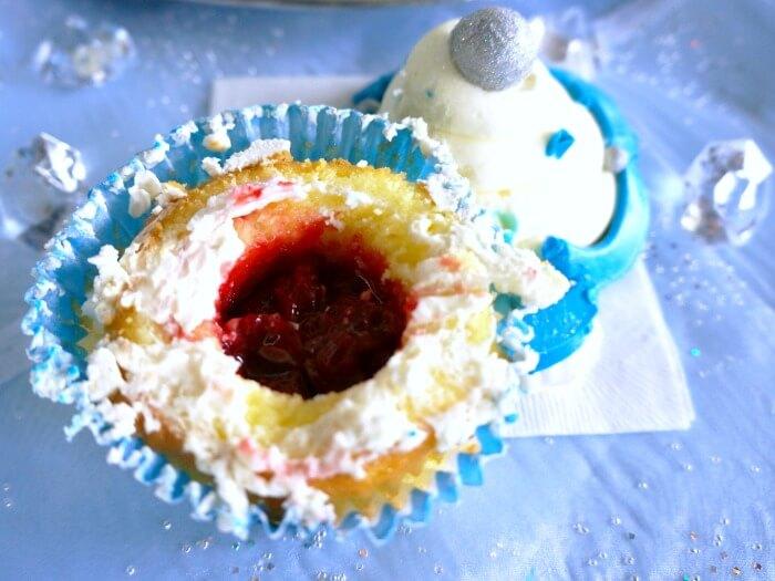 Strawberry filling of Disneyland Diamond Celebration cupcake