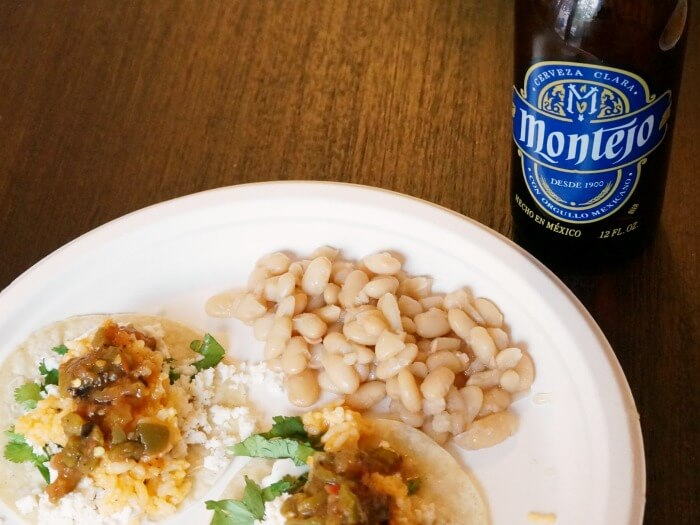 Tacos, beans and Mexican beer