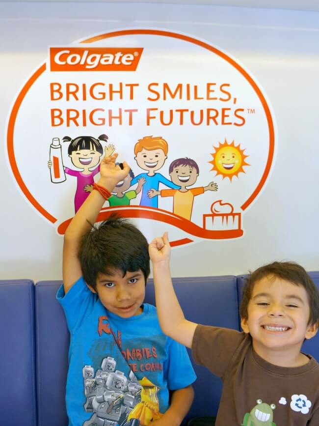 Kids inside Bright Futures mobile dental van