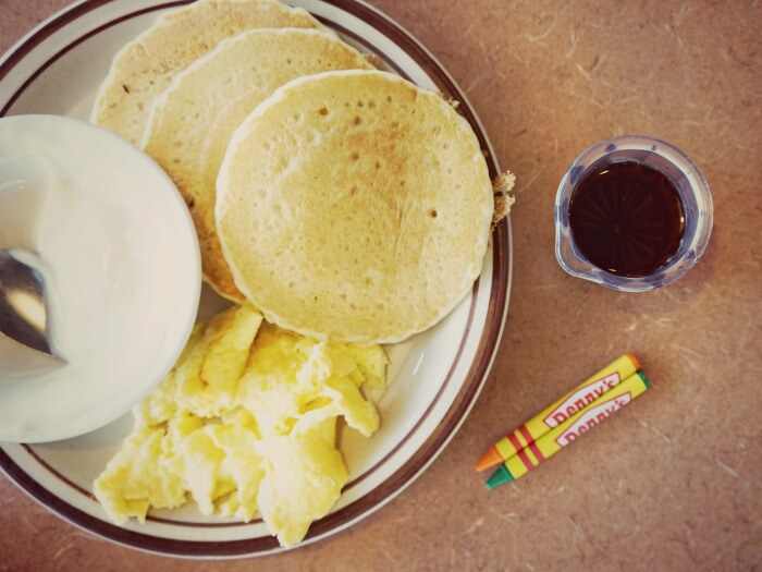 Junior Grand Slam at Denny's Diner with pancakes, eggs and yogurt