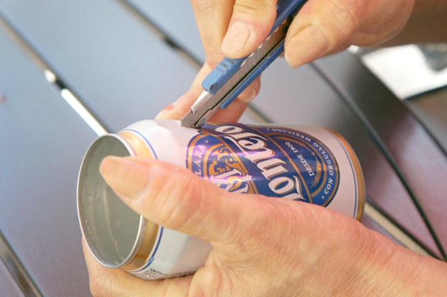 Making soda can lanterns