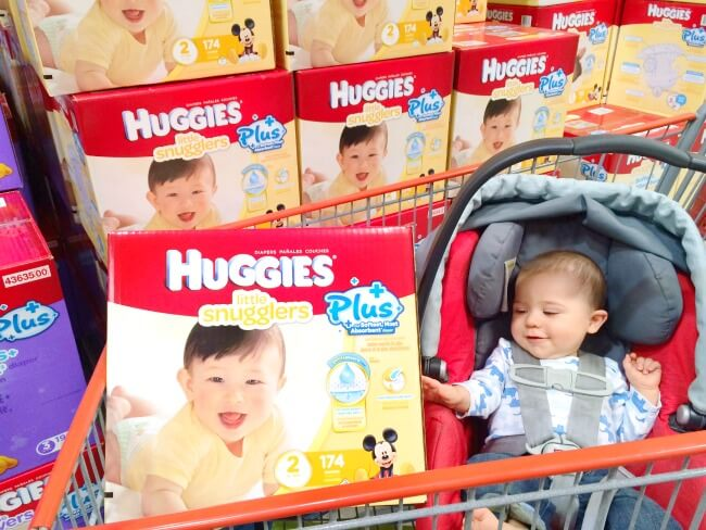Shopping for Huggies at Costco