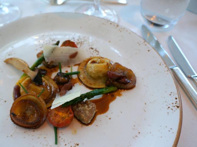 Veal ravioli, sweetbreads, bacon, cipollini onion, cremini, tomato, hunter sauce