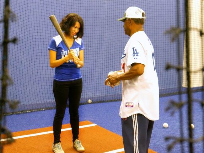 Batting session with Manny Mota