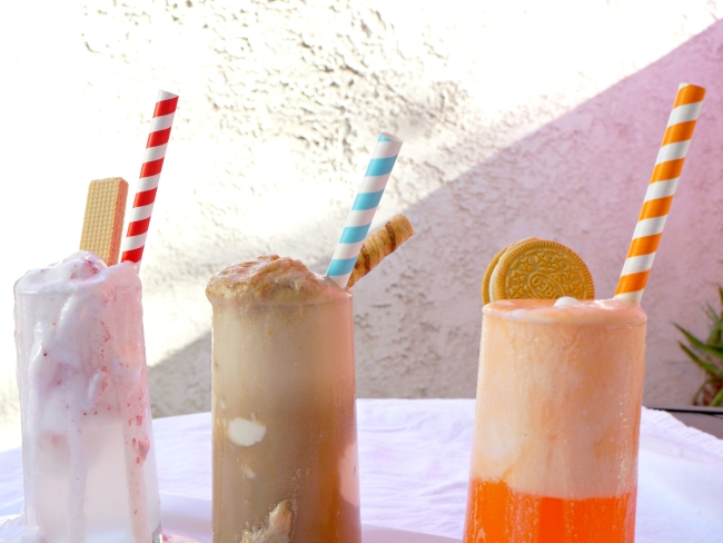 ... here's what you'll need for the three different ice cream floats