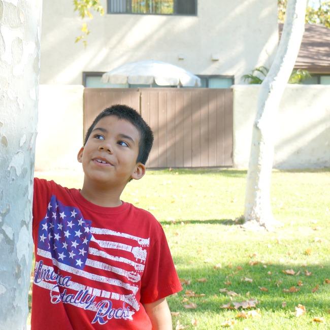 Latino boy with USA tshirt