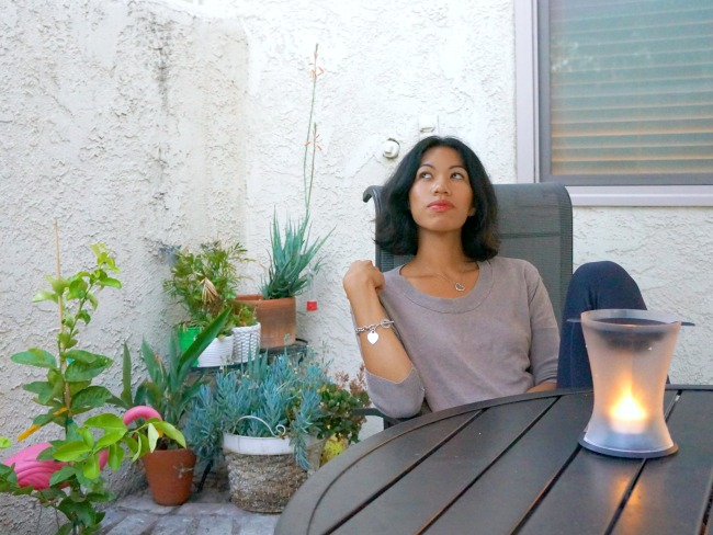 Relaxing in the patio outside our townhome