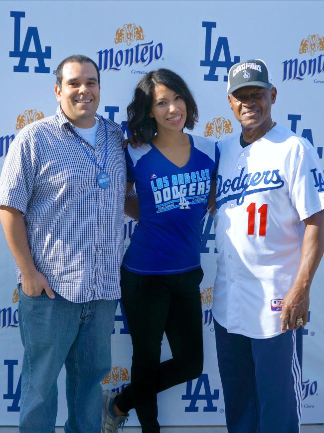 Manny Mota, Pattie Cordova and Alex Cordova at Dodgers Stadium