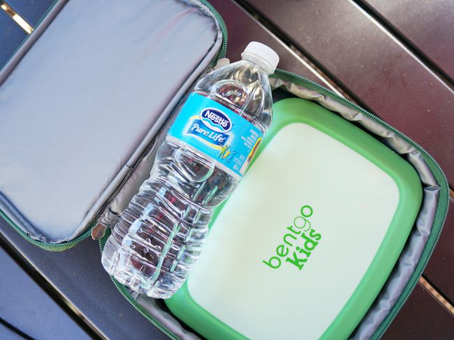kids lunchbox with water bottle