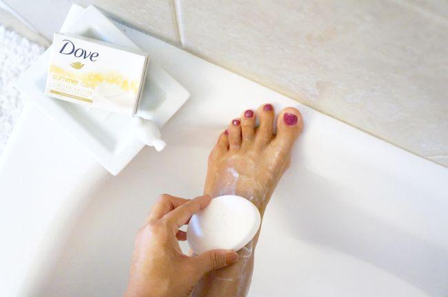 Soap on feet