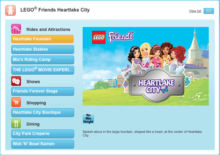 LEGO Friends Heartlake City map