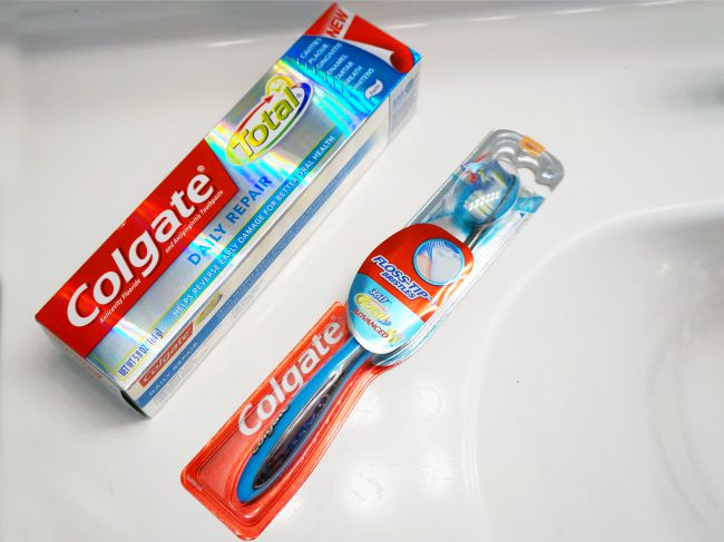 Colgate Total Daily Repair toothpaste and tooth brush