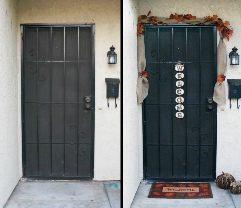 Before and after pictures of front door decor
