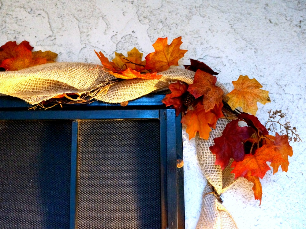 Fall leaves on door