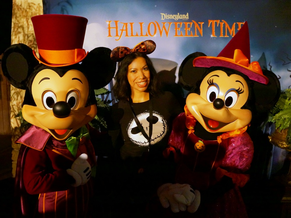 Pattie Cordova with Mickey and Minnie Mouse