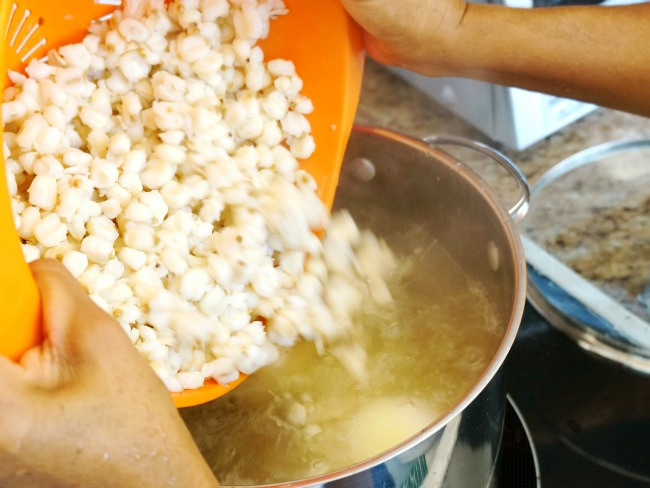 Add hominy to pozole
