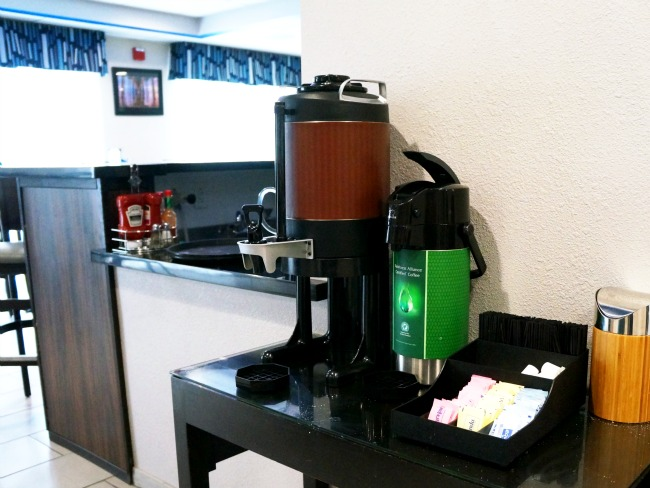 Coffee station at Holiday Inn
