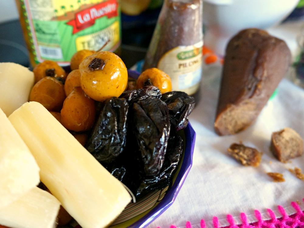 Tecojote, sugar cane and prunes