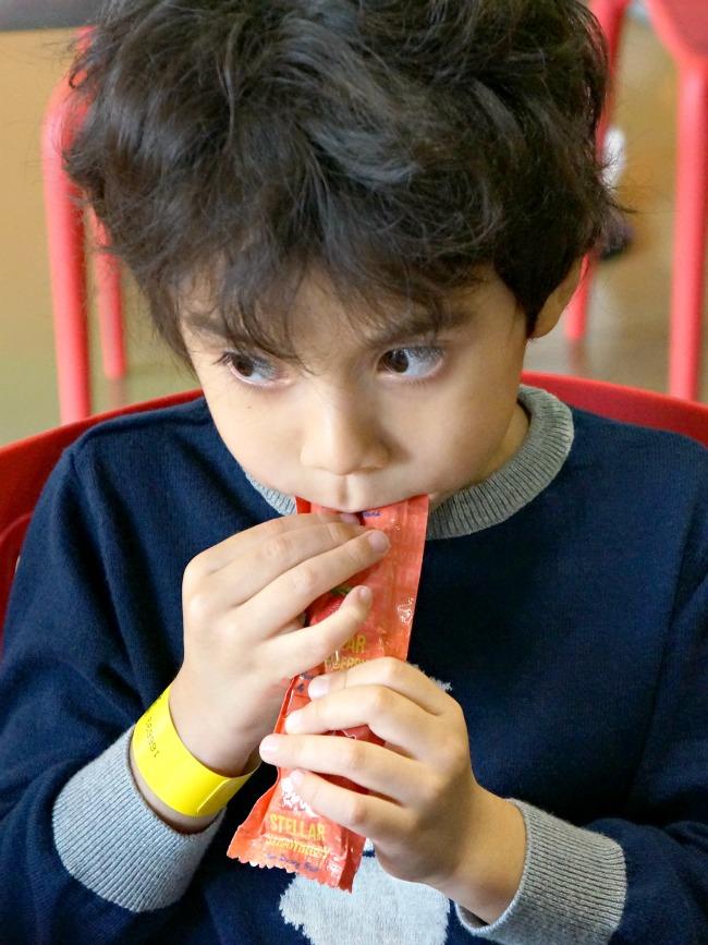 Boy enjoys Ruby Rocket's non-dairy yogurt // livingmividaloca.com