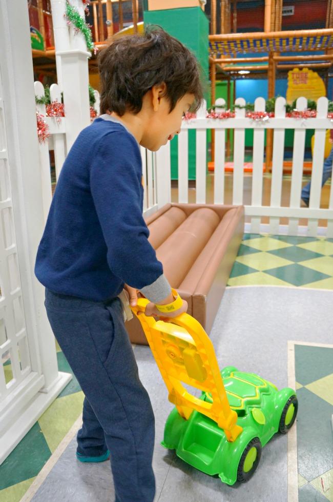 Pretend mowing at Billy Beez // LivingMiVidaLoca.com